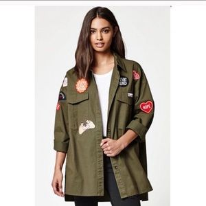 Kendall & Kylie Patchwork Military Shirt